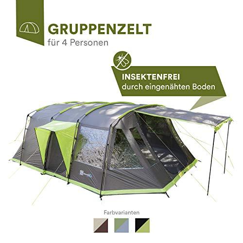 Skandika Nordland 4 Personen Familien/Tunnel Campingzelt, mit fest eingenähtem Zeltboden, 200 cm Stehhöhe, 5000 mm Wassersäule, Steilwänden (anthrazit/grün)