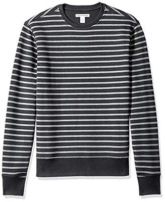 Amazon Essentials Men's Long-Sleeve Crewneck Fleece Sweatshirt, Black Stripe, Large