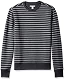 Amazon Essentials Men's Crewneck Fleece Sweatshirt, Black Stripe, Medium