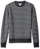 Amazon Essentials Men's Crewneck Fleece Sweatshirt, Black Stripe, Large