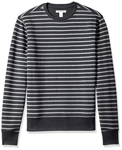 Amazon Essentials Men's Long-Sleeve Crewneck Fleece Sweatshirt, Black Stripe, X-Small