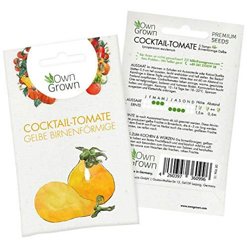 Tomaten Samen Yellow Pearshaped: Birnenförmige Gelbe Minitomate – Cocktailtomaten Samen zum Anbau von Tomatenpflanzen für Balkon und Garten – Köstliche Birnentomate – 5 Gemüse Samen von OwnGrown