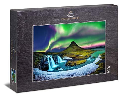 Ulmer Puzzleschmiede - Puzzle Kirkjufell - Puzzle de 1000 Piezas - La Aurora Boreal sobre la Famosa montaña Kirkjufell en Islandia