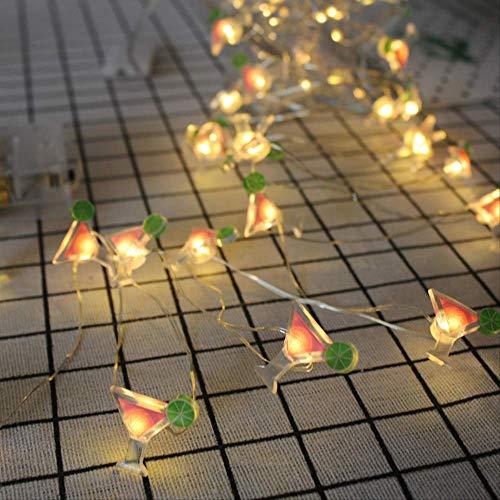 CFLFDC Lichtsnoer, koperdraad, LED-lampen, decoratief, flamingbird slaapkamerlamp, hanglamp, kleine lichtkleur dranken, warmwit, beker van koperdraad, 2 m, 20 lampen, met flitsmodel