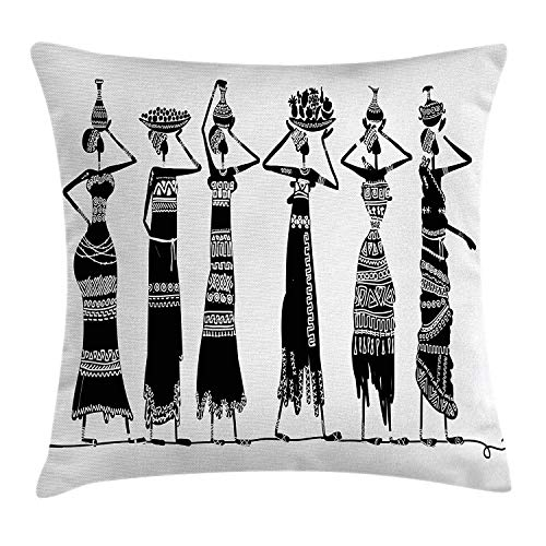 Sketch of Local Women with Jugs Silhouettes Tribal Patterned Dresses, Decorative Square Accent Pillow Case, 18 X 18 Inches, Black and White