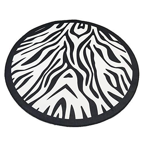 JALAL Unterlegteppich Schwarzweiss-Zebramuster Runder Teppich Computer-Drehstuhl Auflage Korb Einfache Nordische Decke