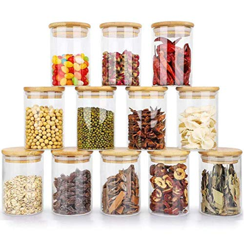 12 Pack Glass Spice Jars 7oz Glass Storage Jars with Bamboo Lids Air Tight Kitchen Containers for Storage Canister Set for Jam Tea Coffee Cookie Snack Flour Spice Jars Home Kitchen