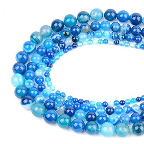 Águaces de Piedra Natural Lava Turquesa Amazonita Cuarzo Perlas de Angelita para joyería Fabricación de Bricolaje 4 6 8 10 12mm 15' (Color : Blue Stripe Agate, Size : 4mm 91pcs Beads)