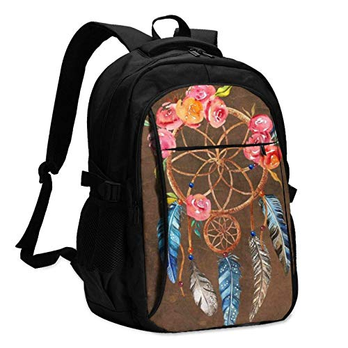 XCNGG Floral Colourful Dream Catcher Travel Laptop Backpack with USB Charging Port Multifunction Work School Bag