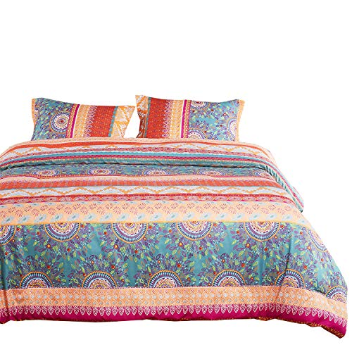 Duvet Cover Set, Orange Coral Boho chic Bohemian Mandala Medallion Pattern Printed, Soft Microfiber Bedding with Zipper Closure (3pcs, Full/Double...