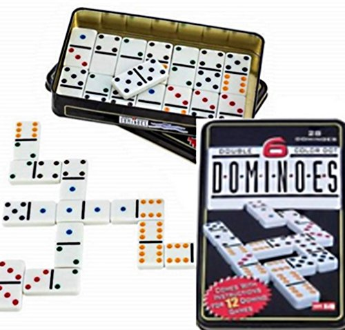 Equilibre et Aventure Jeu de 28 dominos en boite métal - double 6 - règles de 12 jeux incluses