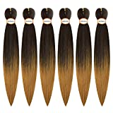 Miss Rola Pre Stretched Ombre Braiding Hair6 Packs for Box,Twistand CrochetBraidsProfessional Soft Yaki Texture Easy Twist braid Itch Free Hair Extensions (30inch/OMB 1B/27)