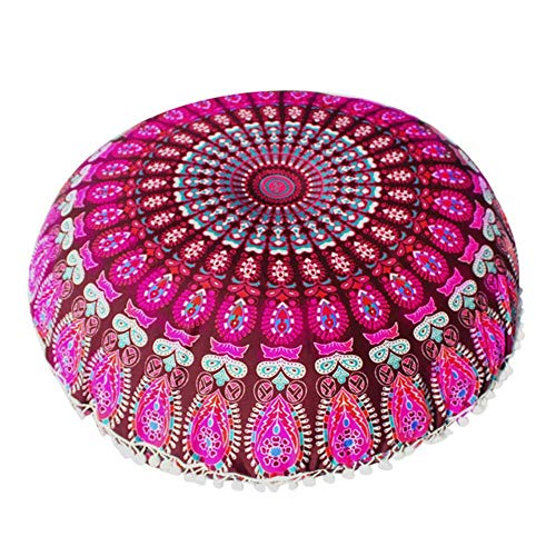 LIMMC Seat Cushion Silk Floor Cushion Round Bohemian Cushions Case With Tassel Decorative Supplies For Bedroom Coffee Shop 3,4,China