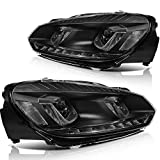 LSAILON Headlight Assembly Driver and Passenger Side Replacement For Volkswagen For Golf 2010-2014,For Volkswagen For GTI 2010-2014 Black Housing Clear Lens