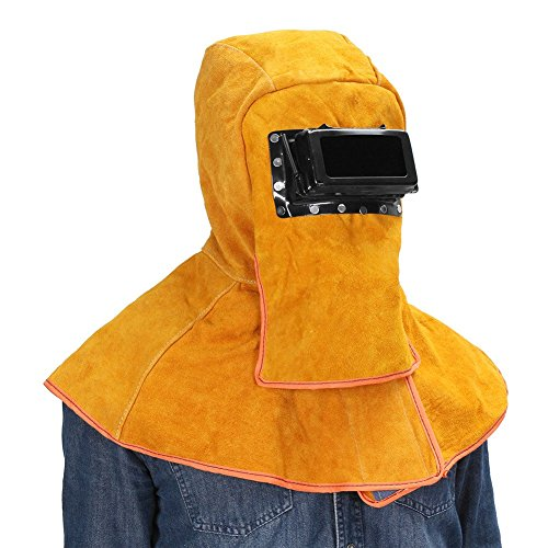 Sundlight Yellow Solar Welding Helmet Hood Helmet Cowhide Split Leather Auto Darkening Filter Lens Protection