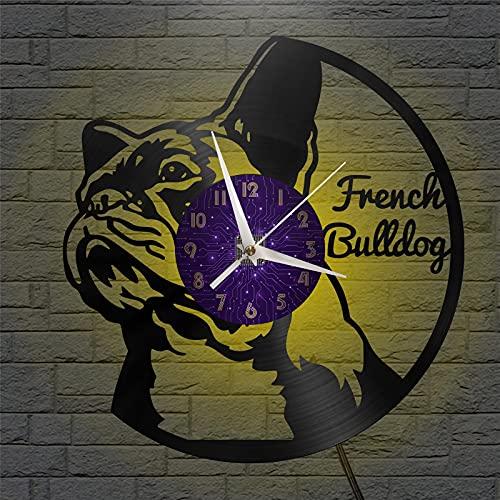 Tema bulldog francese Vinile Record Wall Clock, Orologio da parete per cucina Casa Soggiorno Camera da letto Scuola Orologio originale Orologio Regalo di compleanno per bambini Vintage Vinile Record