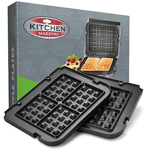 Big Save! Kitchen Maestro Griddler Waffle Plates for Cuisinart Griddler – Nonstick, Dishwasher Saf...