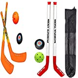 SOWOFA Juego de combinación de Hockey 4 Raquetas 4 Deportes de Pelota Juego de Juguete de Hockey sobre Hielo para niños Juego de Hockey (Bolsa de Almacenamiento Negra Gratis)