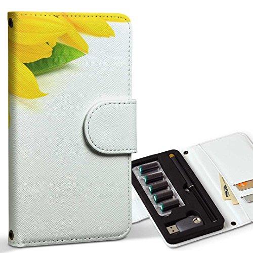 スマコレ ploom TECH プルームテック 専用 レザーケース 手帳型 タバコ ケース カバー 合皮 ケース カバー 収納 プルームケース デザイン 革 フラワー ひまわり 写真 シンプル 005164