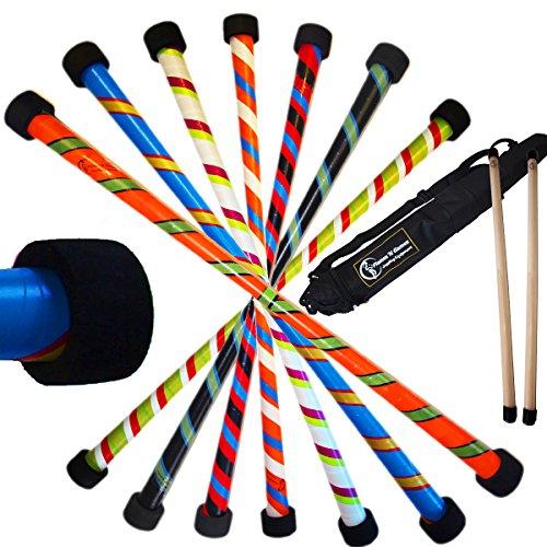 Flames N Games Twister Pro Devil Stick Set (3-Farben Deko) + Silikonbeschichtete HÖLZERN Handstäbe + Reisetasche! Juggling Devil Sticks 4 Anfänger & Profis! (Orange/Schwarz/Grün)