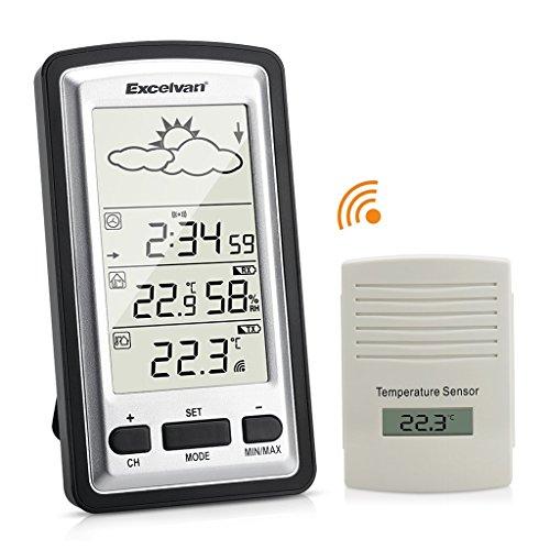 EXCELVAN Wireless Stazione Meteo Digitale - Monitor Indoor & Outdoor Min /...