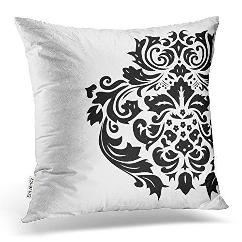 accrocn manta fundas de almohada de fondo blanco Retro de Damasco Negro para exteriores fundas de almohada poliéster 18x 45,72cm Cojín decorativo Funda de cojín cuadrado con cremallera oculta casa sofá