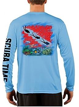 GAMEFISH USA Men s UPF 50 Long Sleeve Microfiber Moisture Wicking Performance Fishing Shirt Scuba Diving Large Baby Blue