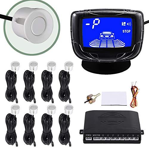 EyPiNS 8 Sensoren Einparkhilfe Parksensoren Rückfahrsensor Vorne Hinten, LCD Farb-Display Parkhilfe PDC Rückfahrwarner Nachrüsten Auto Einparkhilfen Eingebauten in Silber