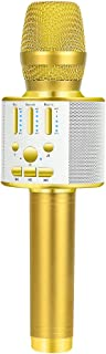 BONAOK 2019 Upgraded Bluetooth Wireless Karaoke Microphone, Portable handheld Rechargeable Karaoke Machine Speaker with Stereo Sound Party Home Birthday for all iPhone/Android/PC(Gold) - coolthings.us