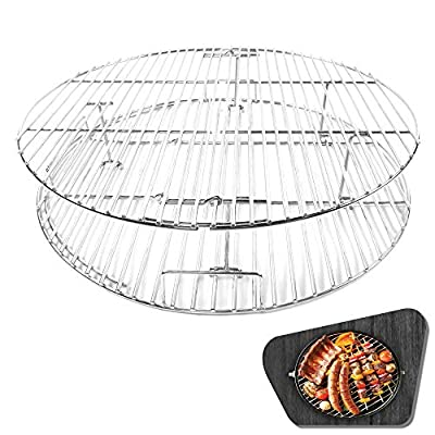 """CHARAPID Cooking Grill Grate Replacement, Stainless Steel Non-Stick Barbecue Fire Pit Grate Grids for 15"""" Classic Kamado Grills"""