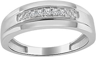 مجوهرات تريليون 0.14 قيراط ألماس طبيعي في 14 قيراط ذهب أبيض Fn باند نمط خاتم الخطوبة للرجال