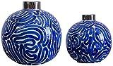 YONGYONGCHONG Jarrón de cerámica para sala de estar y cocina, decoración para el hogar, diseño de flores redondas azul, flor seca de 31 x 31 x 31 cm (tamaño: juego de 2 piezas)