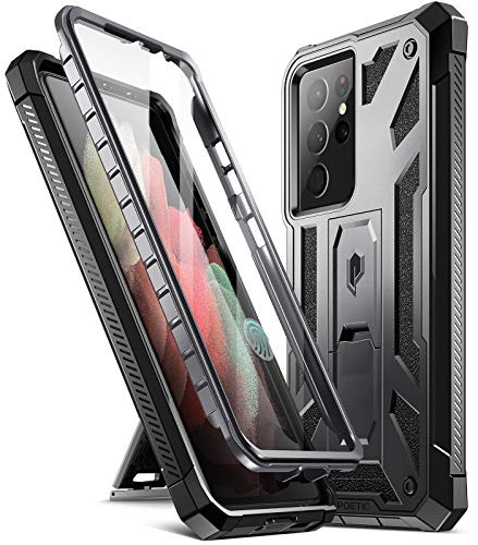 Poetic Spartan Case for Samsung Galaxy S21 Ultra 5G 6.8 inch, Built-in Screen Protector Work with Fingerprint ID, Full Body Rugged Shockproof Protective Cover Case with Kickstand, Metallic Gun Metal