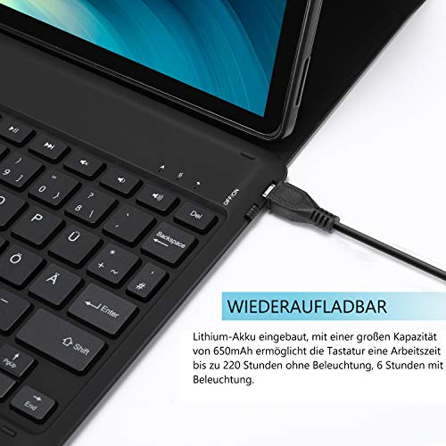 Jelly Comb Samsung Galaxy Tab S6 10.5 Tastatur Hülle, Bluetooth Beleuchtete QWERTZ Tastatur mit Schützhülle für Samsung Galaxy Tab S6 10,5 Zoll T860/T865, 7-farbige Beleuchtung, Schwarz