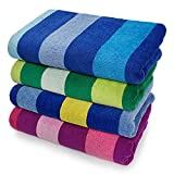 """Kaufman Luxurious, Plush ,4 Pack 100% Combed Ring Spun Yarn dye Cotton Velour Oversized 32""""x62"""" Highly Absorbent, Quick Dry, Colorful Tonal Rugby Striped Beach, Pool and Bath Towel."""