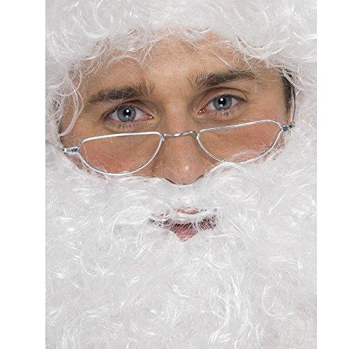 Smiffy's-98014 Gafas de Media Luna de Papá Noel, Plateadas, Color Plata, No es Applicable (98014)