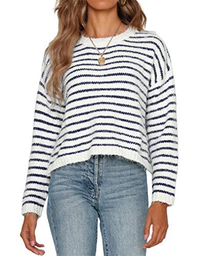 YOINS Pullover Damen Streifen Sweatshirt Oberteile Strickpullover Farbblock Sweater V-Ausschnitt Jumper Langarmshirts Tops Hemd Shirt Dunkelblau XL