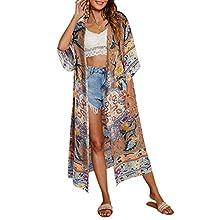 Pareo de Bikini para Mujer Cover Up para Playa Estampado Floral Cárdigan Largo Estilo Bohemio Bata Kimono Talla Grande de Mujer para Verano Vacaciones (Marrón, M)