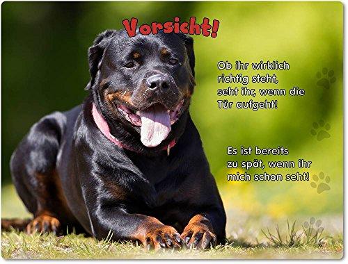 Merchandise for Fans Blechschild/Warnschild/Türschild - Aluminium - 20x30cm - mit Spruch - Motiv: Rottweiler - 02