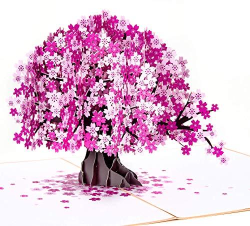 LIMAH® Pop-Up 3D Glückwunschkarte Grußkarte/Geburtstagskarte, Valentinstag-Karte, Muttertag-Karte, Dankeskarte, Geschenkkarte, Freundschaftskarte/Kirschbaum Motiv/in rosa lila/Groß