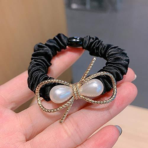 Atar el cabello, banda de goma, anillo para el cabello femenino, accesorios simples para el cabello con cola de caballo baja, anillo para el intestino delgado-negro