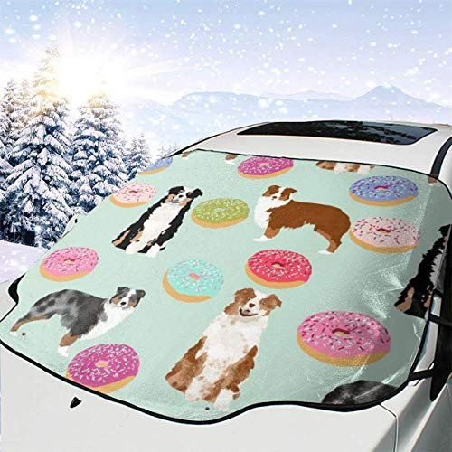 Pillow Bags Aussie Dogs Donuts Cute Mint Fabric Best Doughnuts Fabric Cute Australian Shepherd Fabric Car Front Windshield Cover Foldable Sunshade Fits Most Cars, Trucks, SUV's
