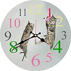 ShuaXin Wood Decorative 12 Inch Cute Cat Wall Clock for Children Bedroom,Kids Room Wall Decor,Large Arabic Numeral Home Office Decoration Wall Clock