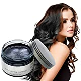 Temporary Natural Hair Color Wax Styling Cream Mud, Adofect Natural Hairstyle Dye Pomade, Instant Hairstyle Cream 4.23 oz, Hairstyle Wax for Men and Women, Party Cosplay, Halloween, Black
