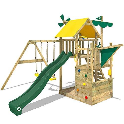 WICKEY Kletterturm Smart Sail Spielturm Klettergerüst mit verschiedenen Podesthöhen, Kletterwand, Sandkasten, grüne Rutsche und grün-gelbe Plane