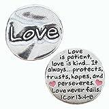 Pewter Scripture Pocket Token: Love I Corinthians 13:4-8 - 1 1/8' X 1 1/8'