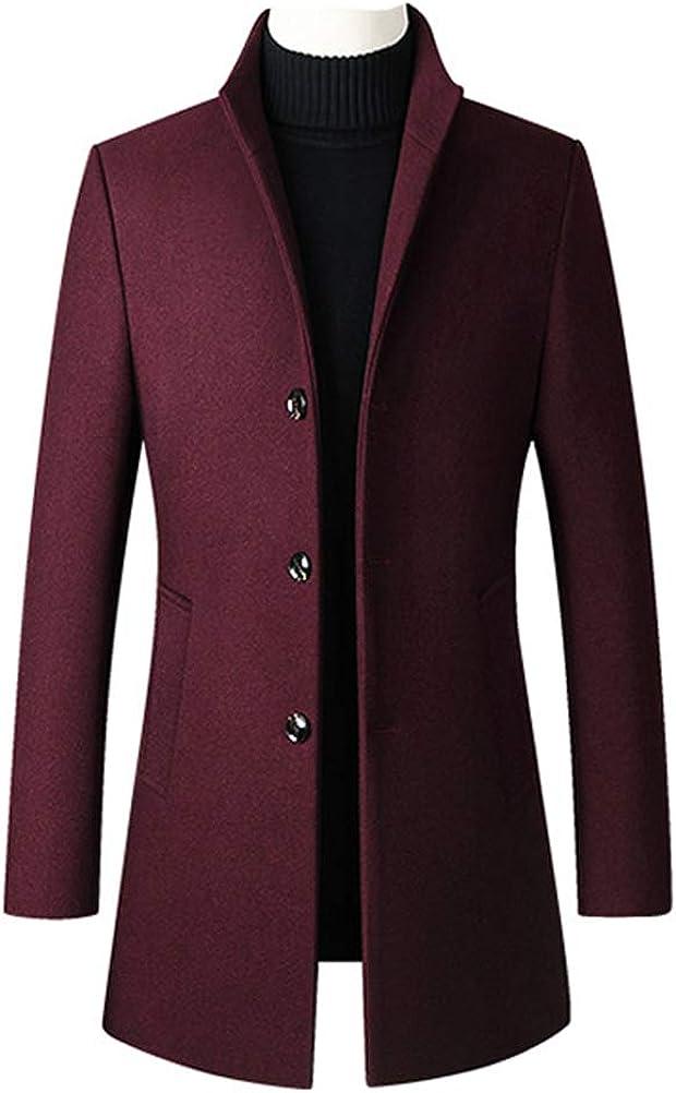 Minibee Men's Trench Woolen Coat Winter Stylish Long Slim Fit Luxury Wool Blend Topcoat Business Down Jacket