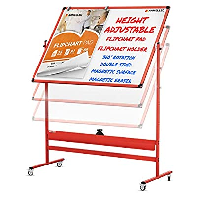 Mobile Whiteboard - 46x32 Large Height Adjust 360° Rolling Double Sided Dry Erase Board, Magnetic White Board on Wheels, Office Classroom Portable Easel with Stand, Flip Chart Holders and Pad | Red