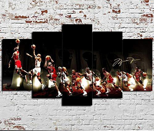 UYTRE 5 Parti XXL Cuadros Decoracion Salon 5 Piezas Material Tejido no Tejido Impresión Artística Imagen Decoracion de Pared Cuadro - Jordan NBA Basketball(H-100 cm x M/B-200 cm)