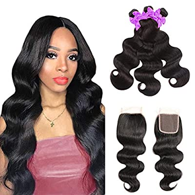 Miss CARA Brazilian Hair Body Wave 3 Bundles with Closure 100% Human Hair Bundles Brazilian Wavy Hair 100% Unprocessed Virgin Human Hair Extension Natural Color ?